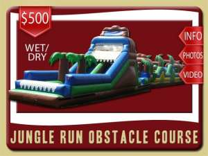 Jungle Run Obstacle Course Rental, Water Slide, Rock Wall, Inflatable, Palm Tree, Brown, Blue, Green