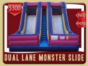 Dual Lane Monster Slide Rental, Inflatable, Dry, Two, Pink, Purple, Blue, Yellow