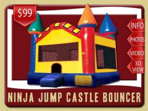 Ninja Jump Castle Bounce House Rental, Red, Blue, Yellow