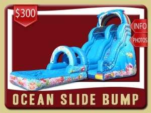 Ocean Bump Water Slide Rental, Inflatable, Fish, Colal, Sea, Mermaid, Dolphin, Blue, Ranbow, Pool