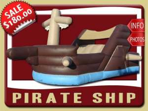 Pirate Ship Inflatable Slide Rental, Boat, Blue, Brown, Dry