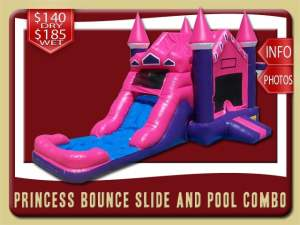 Princess Bounce Slide Pool Combo Inflatable, Pink, Purple