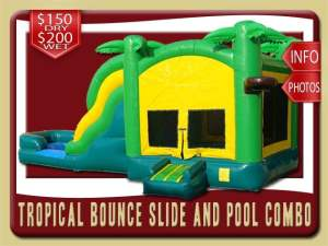 Tropical Bounce House Water Slide Pool Inflatable Combo, Palm Tree, Green, Yellow