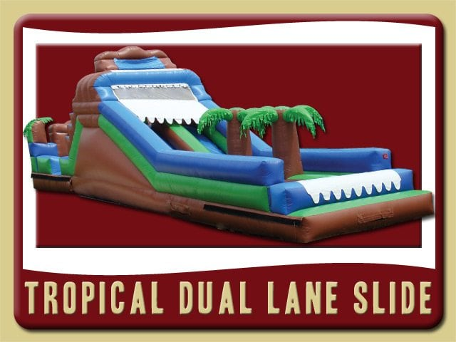 Troupical Dual Water Slide Inflatable Party Rental St Augustine