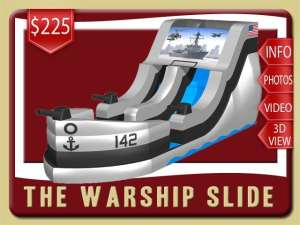Warship Water Slide Rental, Inflatabe, Navy, Fighter Jet, helicopter, pool, Gray, Black