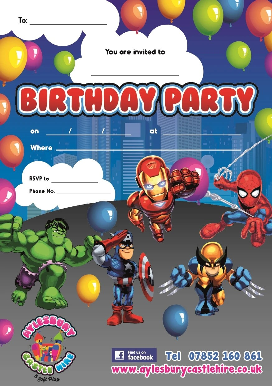 super hero party invitations bouncy