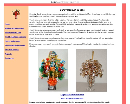 Learn how to make candy bouquets – Candy Bouquet Designs books. Start Candy Bouquet and Gift Basket Business or Do it for a hobby!