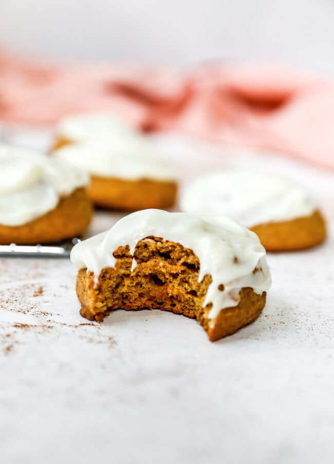 pumpkin cookies with a bite taken out