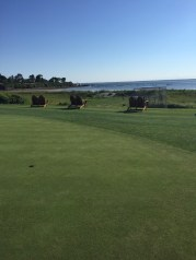 The view from the putting green down tothe driving range