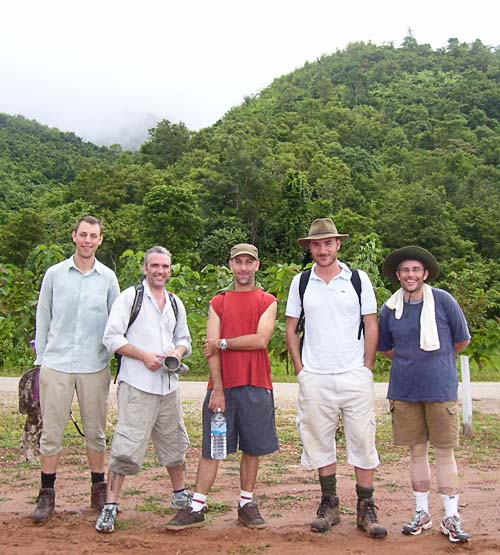 """Lao """"Walkathoners"""" Andy, Greg, Shannon, Ben, and David. John joined the walk for the last couple of days."""