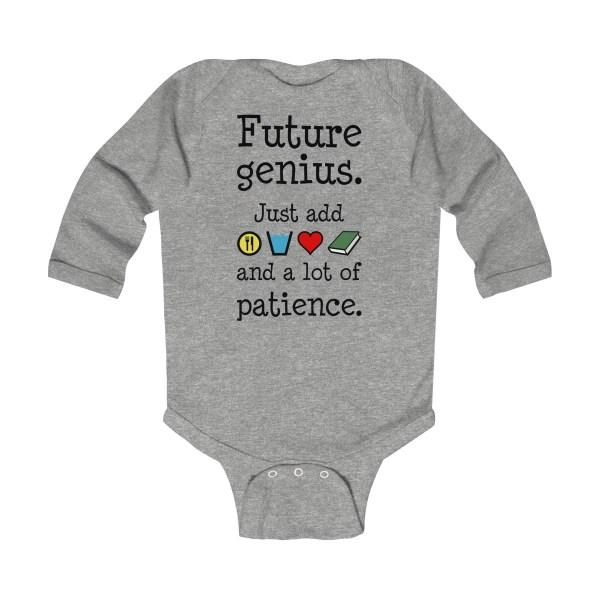 Future genius long-sleeved infant onesie - heather