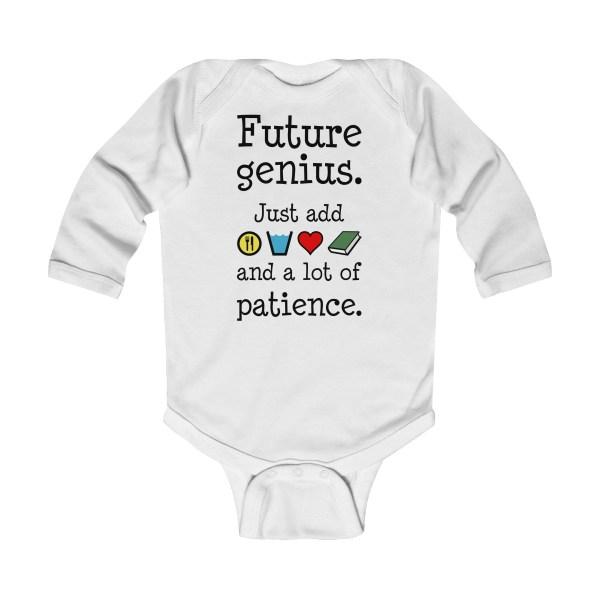 Future genius long-sleeved infant onesie - white