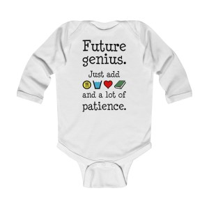 Future genius long-sleeved infant onesie - white