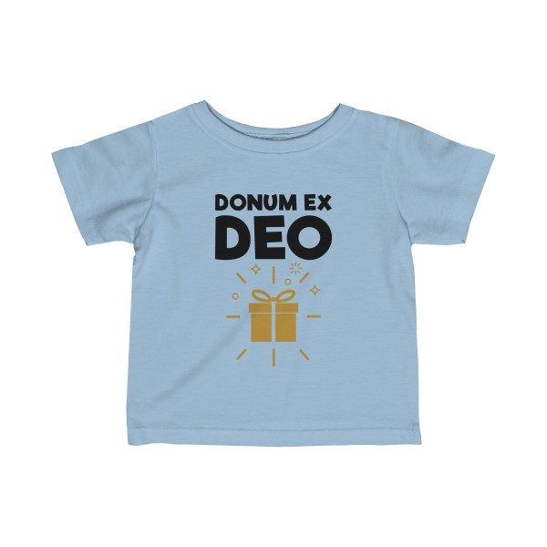 Donum ex Deo (gift from God) infant t-shirt - light blue