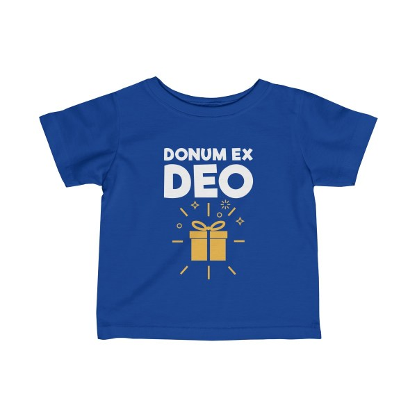 Donum ex Deo (gift from God) infant t-shirt - blue