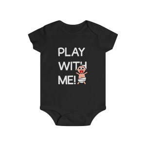 Play with me explorer (parental guidance required) infant onesie - front - black