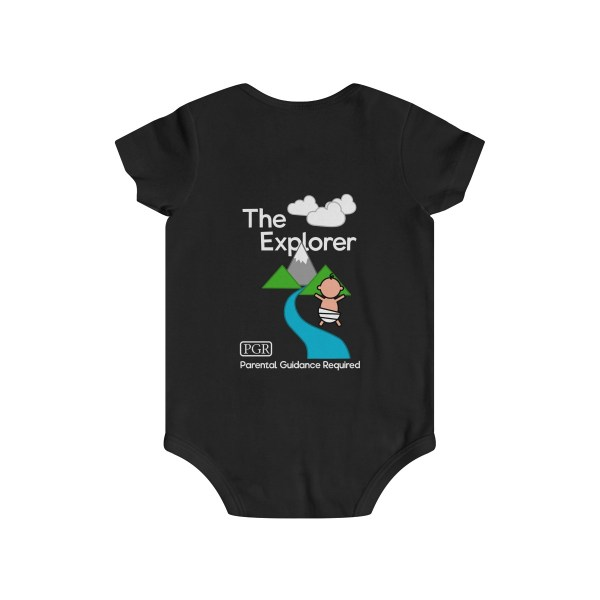 Play with me explorer (parental guidance required) infant onesie - back - black