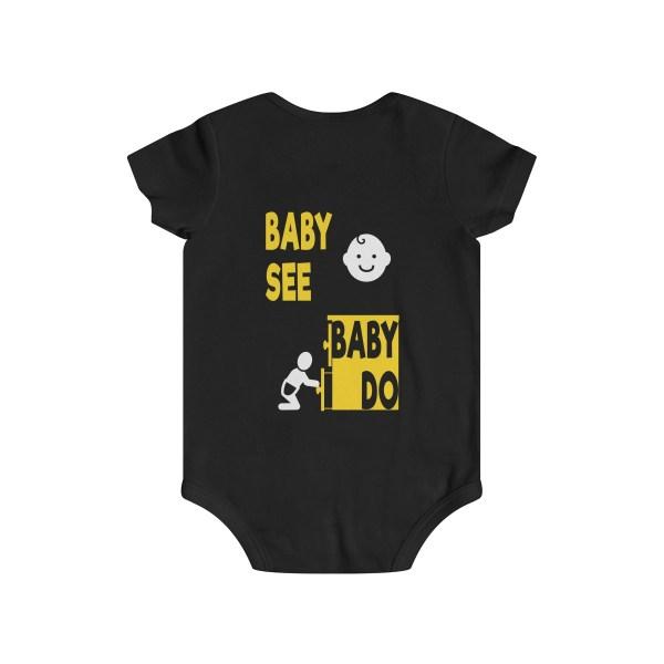 Master of observation baby see baby do infant onesie - back - black