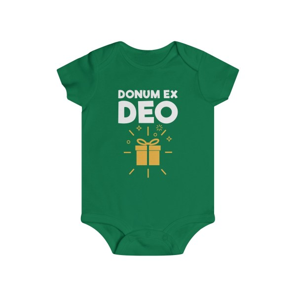 Donum ex Deo (gift from God) infant onesie - green