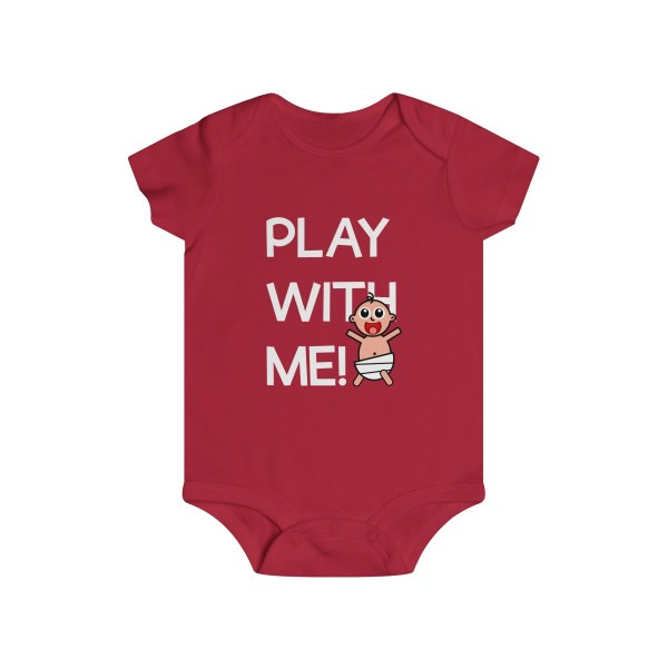 Play with me explorer (parental guidance required) infant onesie - front - red