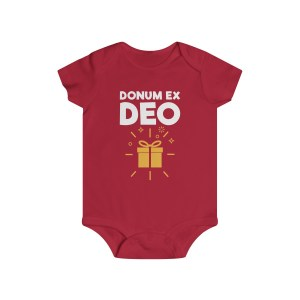 Donum ex Deo (gift from God) infant onesie - red
