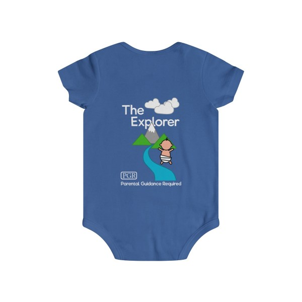 Play with me explorer (parental guidance required) infant onesie - back - blue