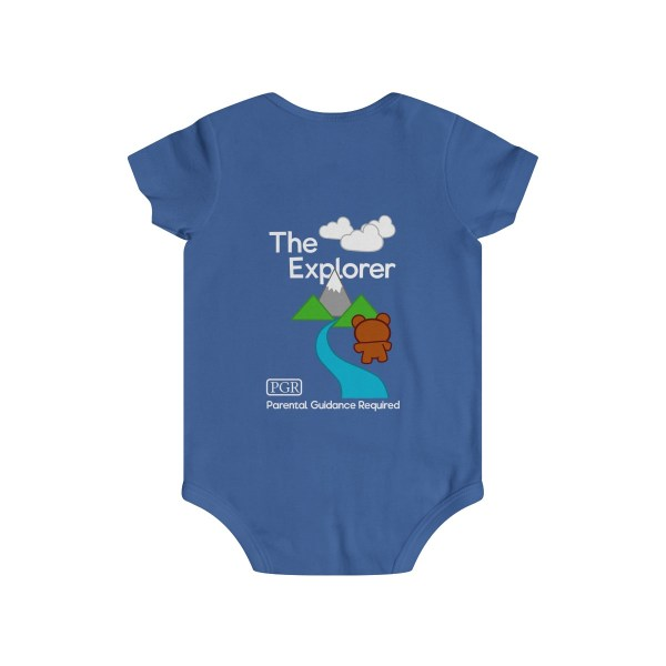Play with me explorer (parental guidance required) infant onesie bear edition - back - blue