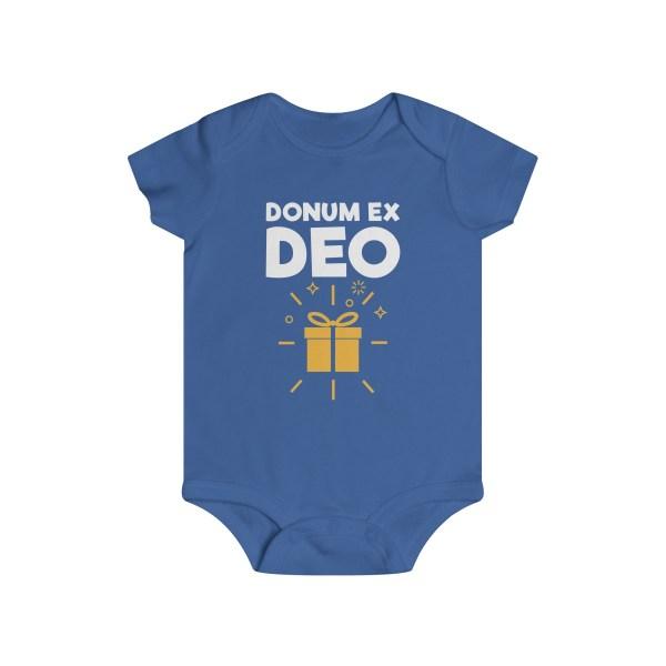 Donum ex Deo (gift from God) infant onesie - blue