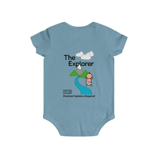 Play with me explorer (parental guidance required) infant onesie - back - light blue