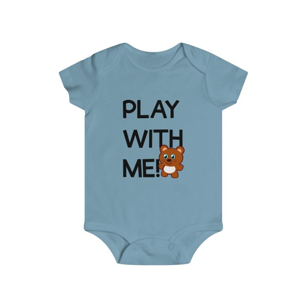 Play with me explorer (parental guidance required) infant onesie bear edition - front - light blue