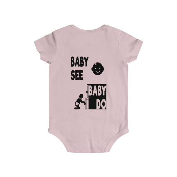 Master of observation baby see baby do infant onesie - back - light pink