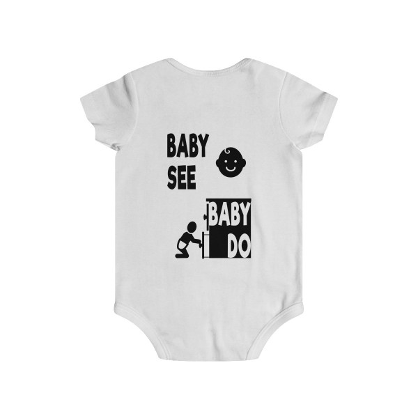 Master of observation baby see baby do infant onesie - back - white