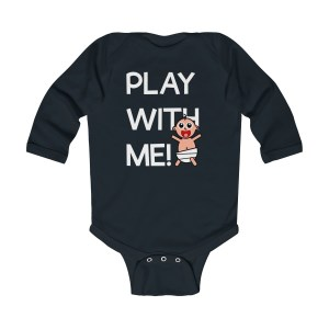 Play with me explorer (parental guidance required) long-sleeved infant onesie - front - black