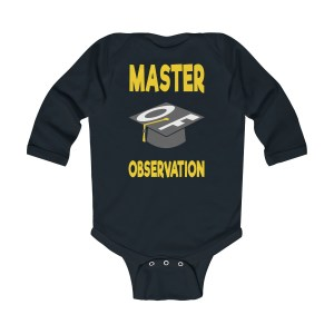Master of observation baby see baby do long-sleeved infant onesie - front - black