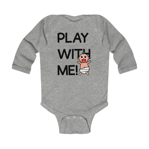 Play with me explorer (parental guidance required) long-sleeved infant onesie - front - heather