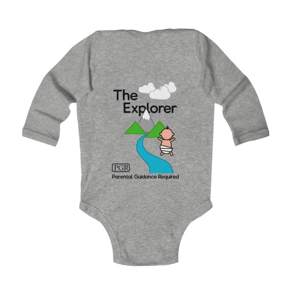 Play with me explorer (parental guidance required) long-sleeved infant onesie - back - heather