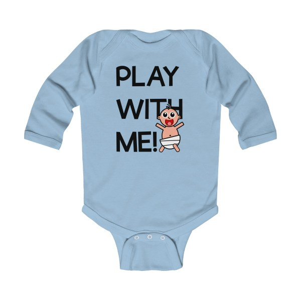 Play with me explorer (parental guidance required) long-sleeved infant onesie - front light blue