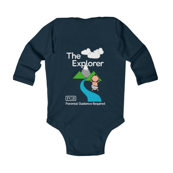 Play with me explorer (parental guidance required) long-sleeved infant onesie - back - navy blue