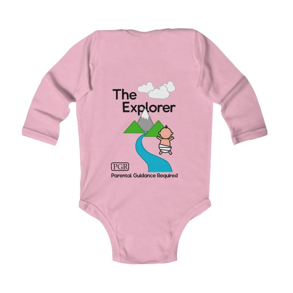 Play with me explorer (parental guidance required) long-sleeved infant onesie - back - light pink