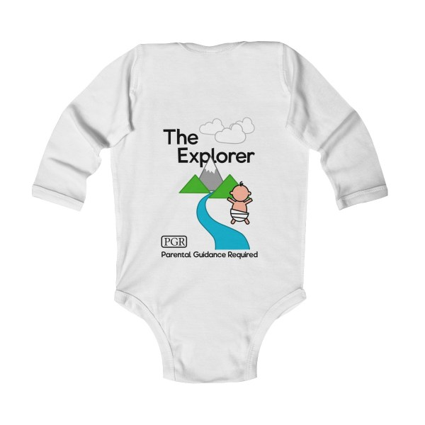 Play with me explorer (parental guidance required) long-sleeved infant onesie - back - white