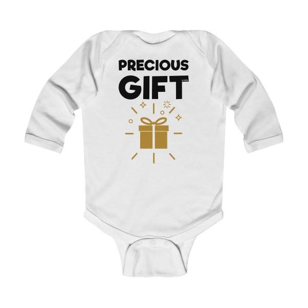 Precious gift long-sleeved infant onesie - white