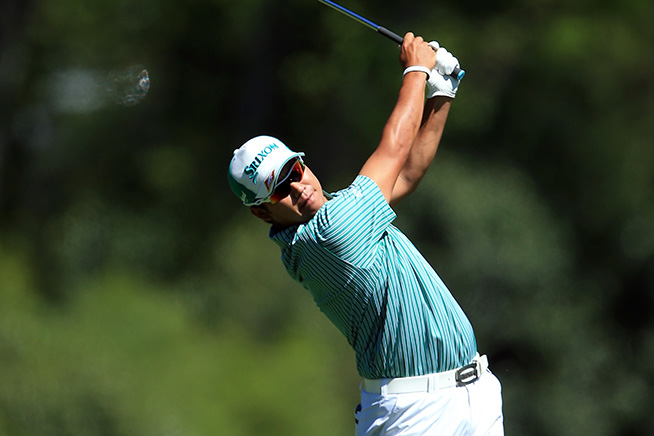 AUGUSTA, GEORGIA - APRIL 07: Hideki Matsuyama of Japan plays his second shot on the fifth hole during the first round of the 2016 Masters Tournament at Augusta National Golf Club on April 7, 2016 in Augusta, Georgia. (Photo by David Cannon/Getty Images)