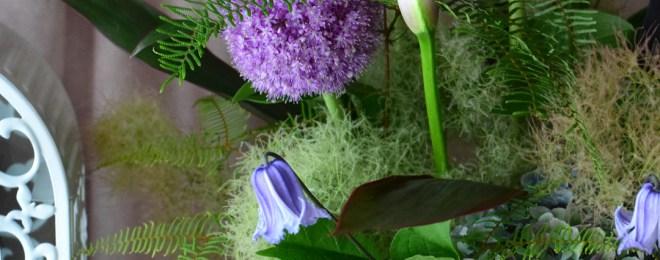 ギガンジウム カラー スモークツリー クレマチス 紫陽花 アジサイ あじさい 夏の花 フラワーアレンジメント 紫の花