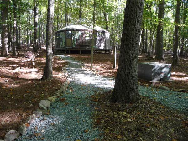 Walk up to the yurt gallery