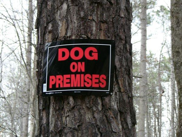 Dog on Premises sign
