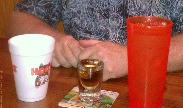 Hooters bourbon and water