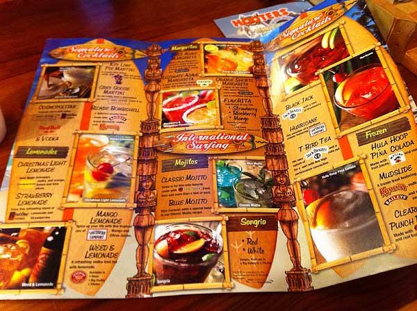 Hooters drinks menu