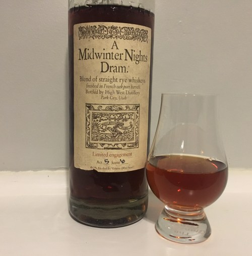 Bottle of Midwinter NIghts Dram with glencairn glass