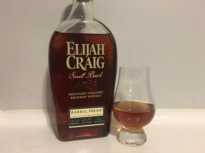 Elijah Craig Barrel Proof with glencairn glass