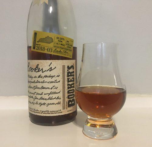 Bottle of Booker's with glencairn glass